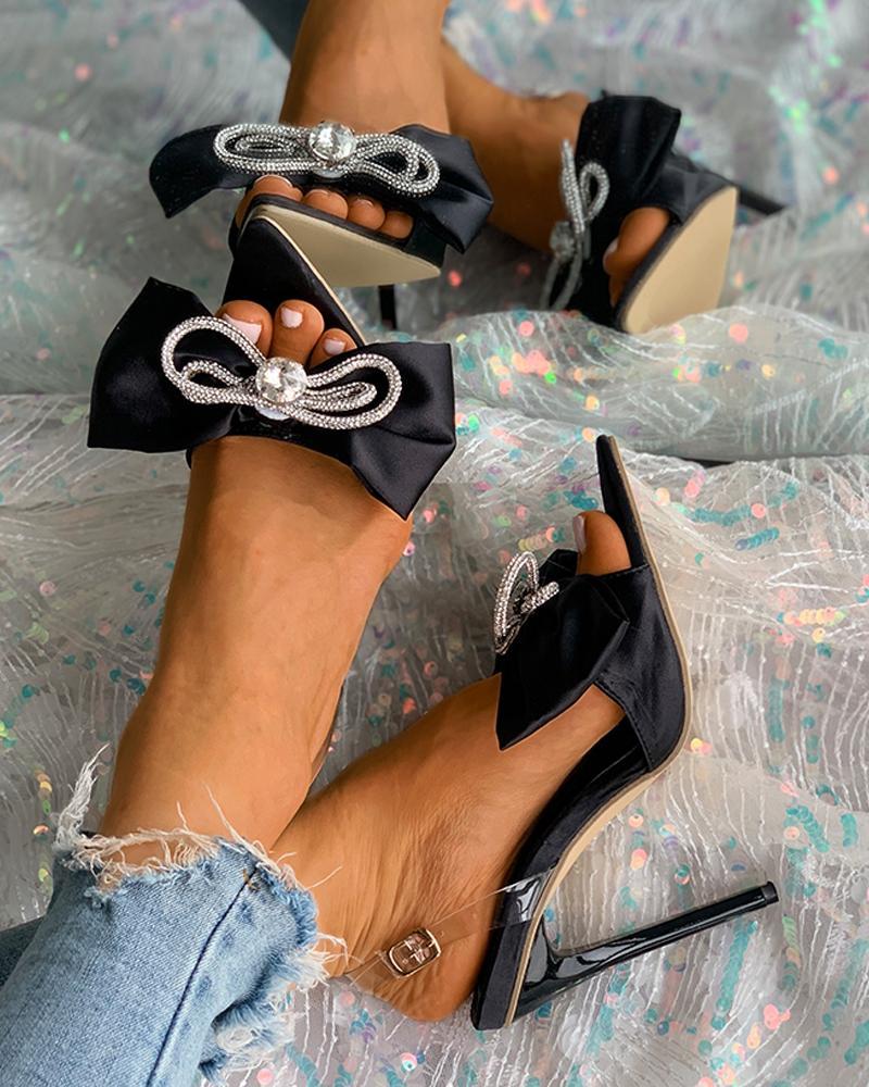 Rhinestone Bowknot Decor Pointed Toe Stiletto Heels, Black