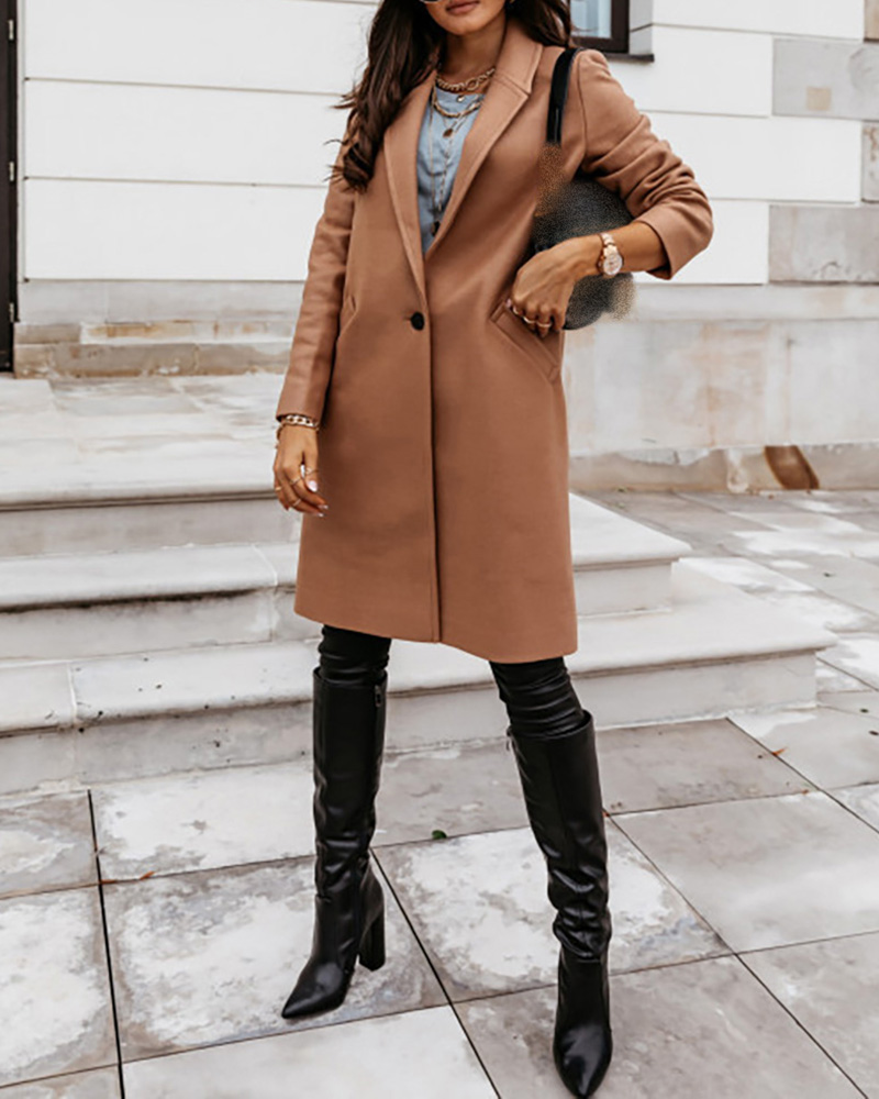 Pockets Design Buttoned Solid Casual Longline Coat
