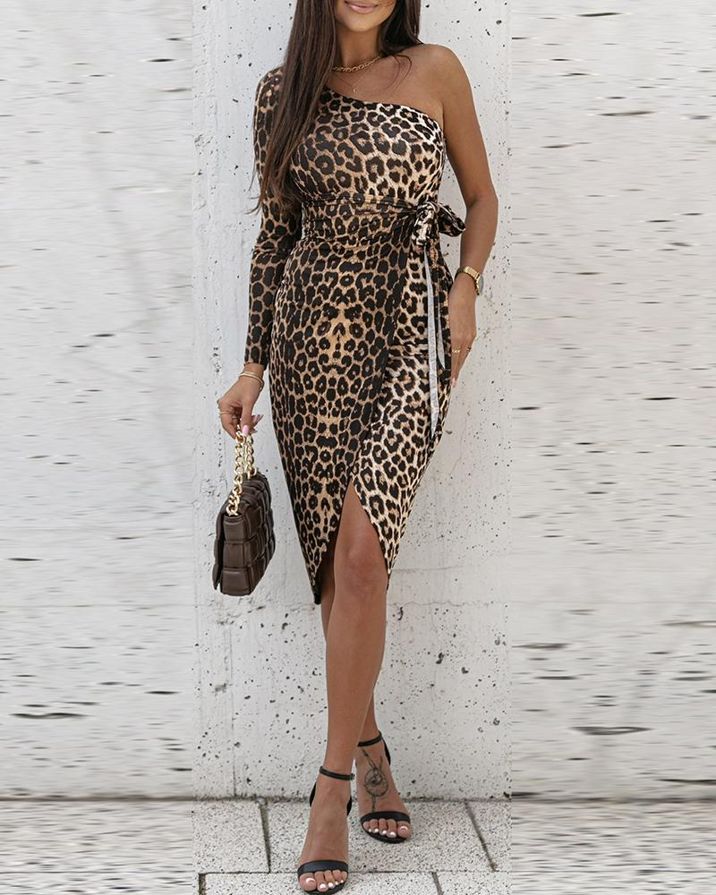 One Shoulder Tied Detail Cheetah Print Dress