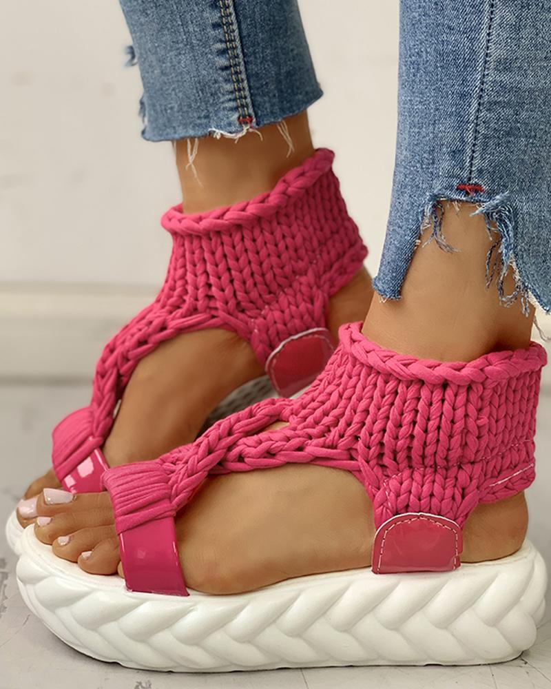 Knitted Cutout Crisscross Muffin Sandals