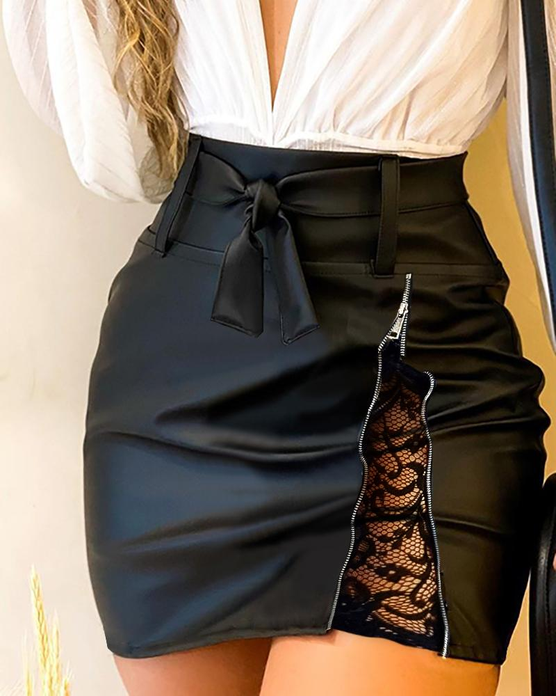 PU Leather Zipper Lace Insert Tied Detail Skirt
