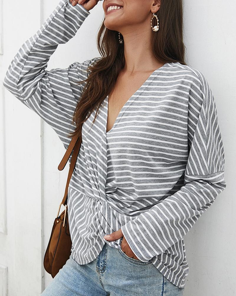 Long Sleeve Twisted Front Striped Print Top