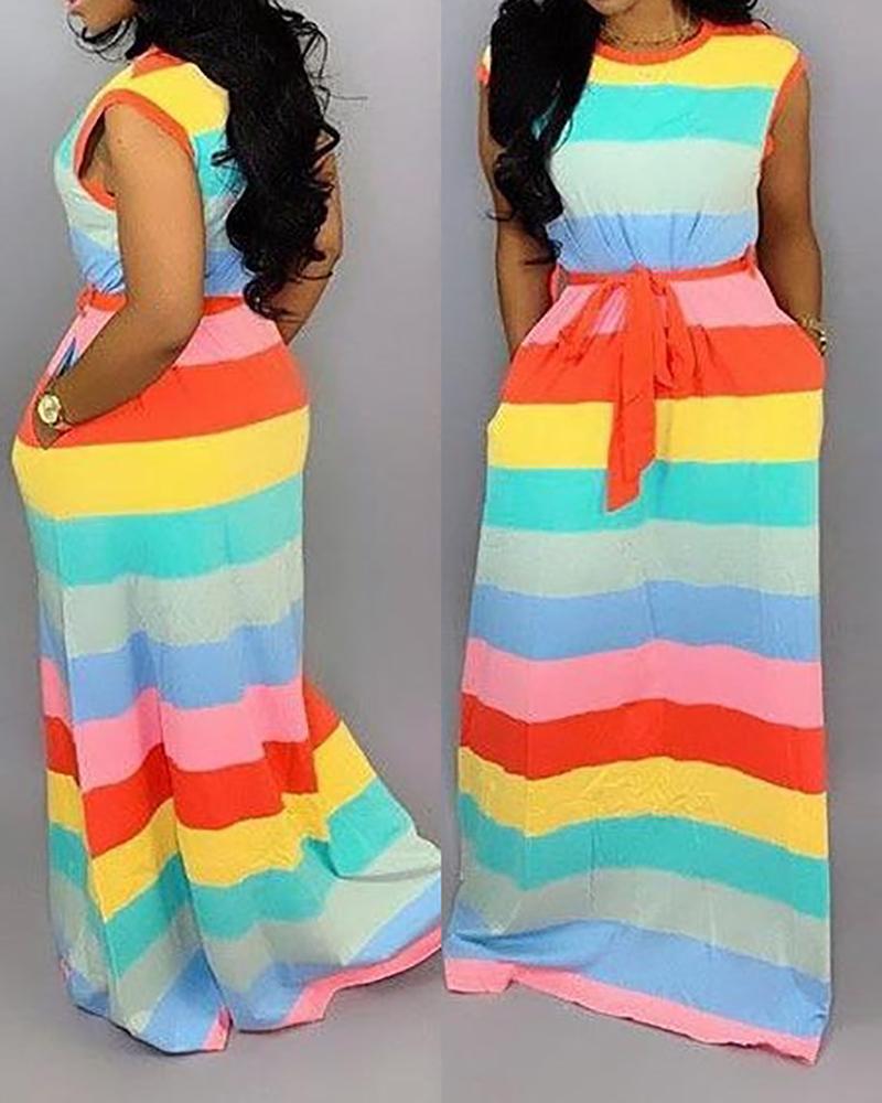 Striped Colorblock Sleeveless Maxi Dress