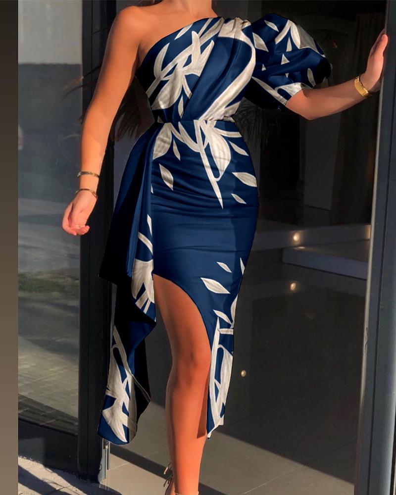 Tropical Print One Shoulder Puff Sleeve Slit Dress Slim Party Dress Cocktail Dress