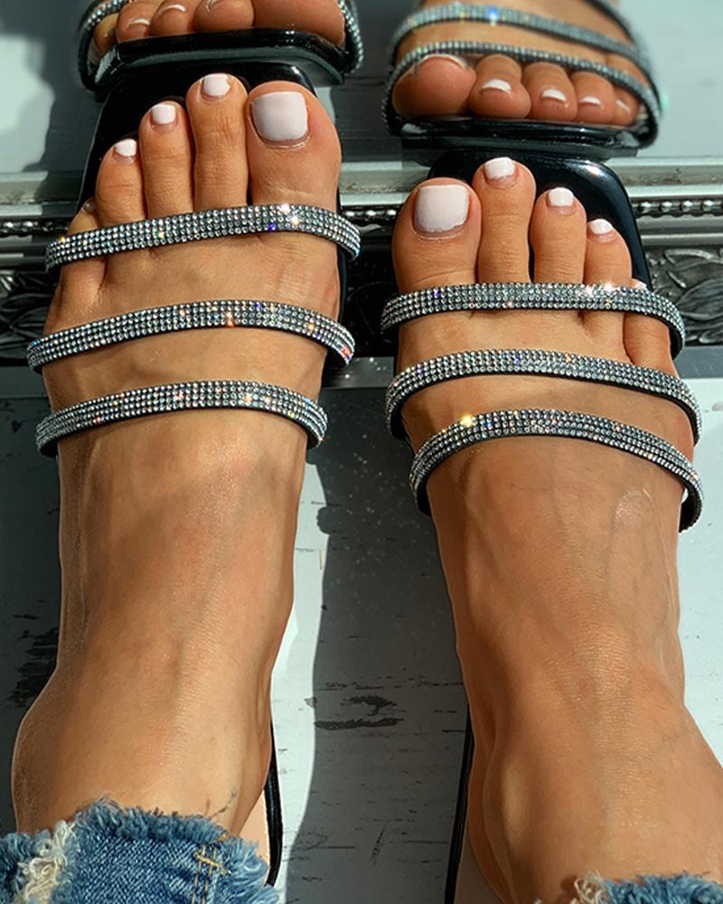 Studded Strap Square Toe Slide Sandals