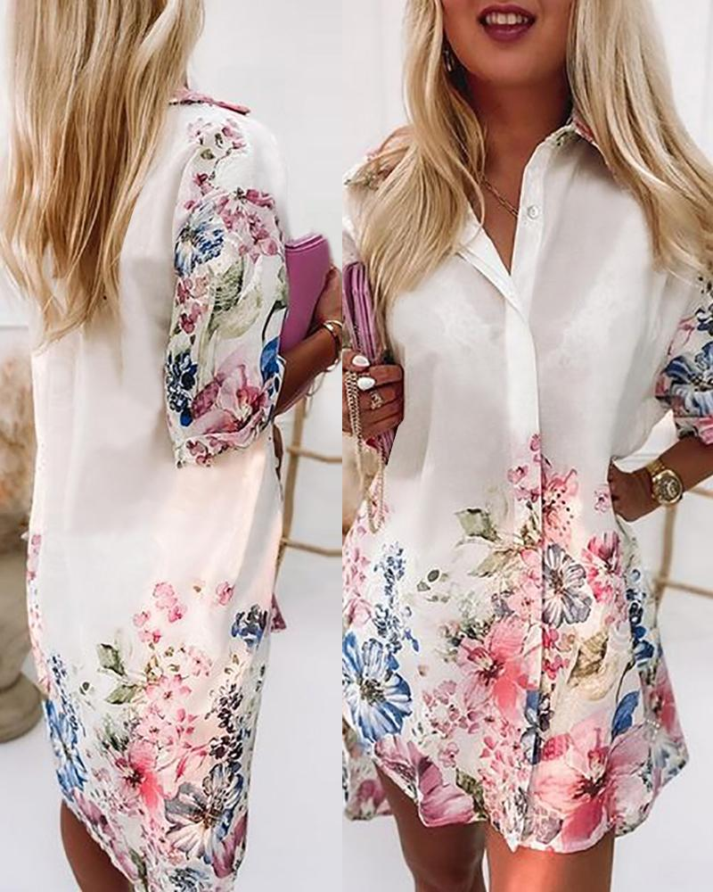 Floral Print Buttoned Eyelet Embroidery Shirt Dress