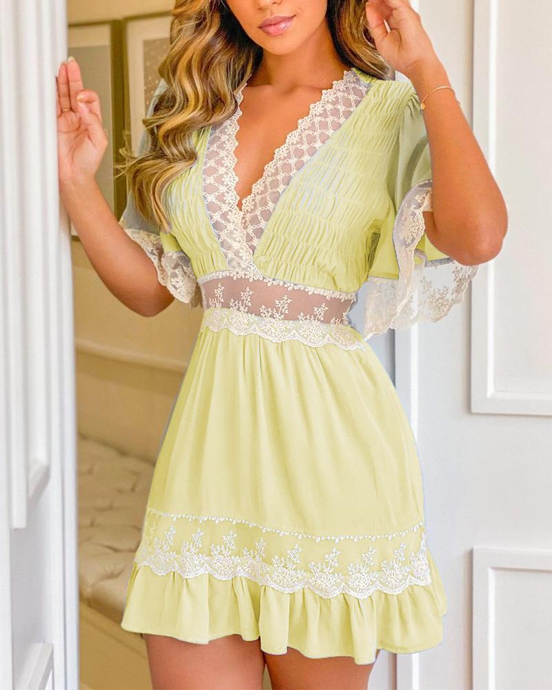 Ruffles Crochet Lace Patch Shirring Detail Casual Dress, Yellow