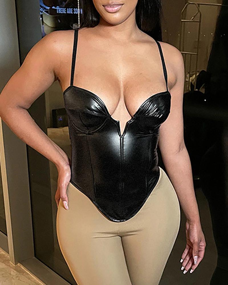 Plunge Spaghetti Strap PU Leather Bodysuit