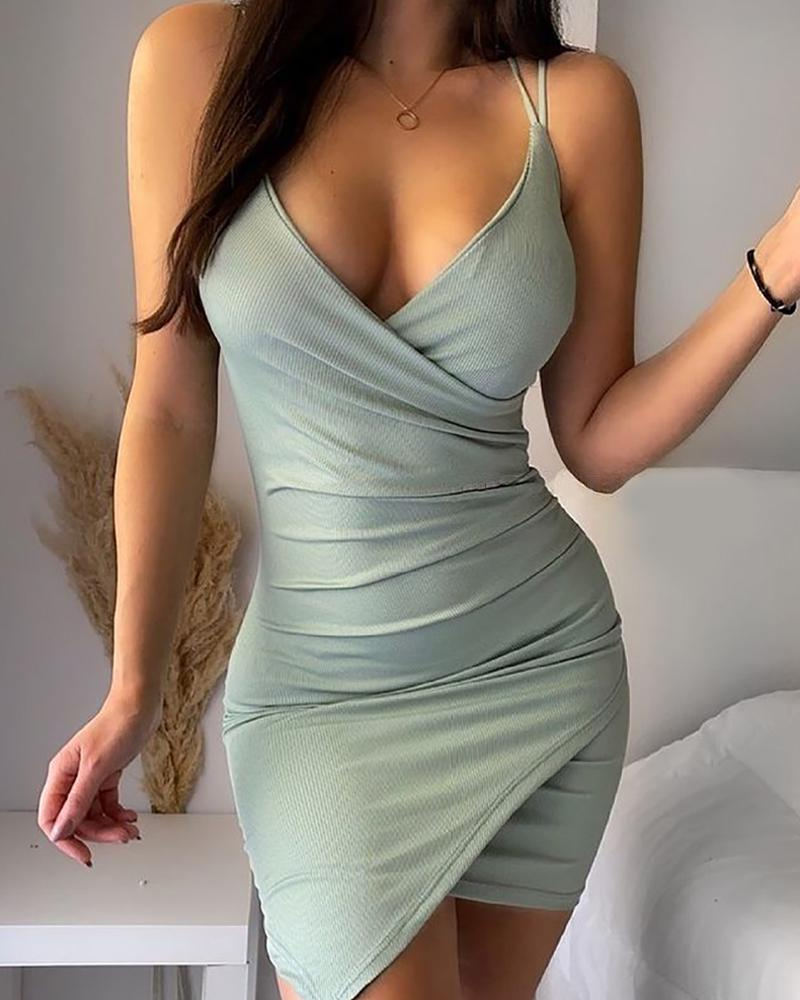 Double Strap Ruched Asymmetrical Bodycon Dress