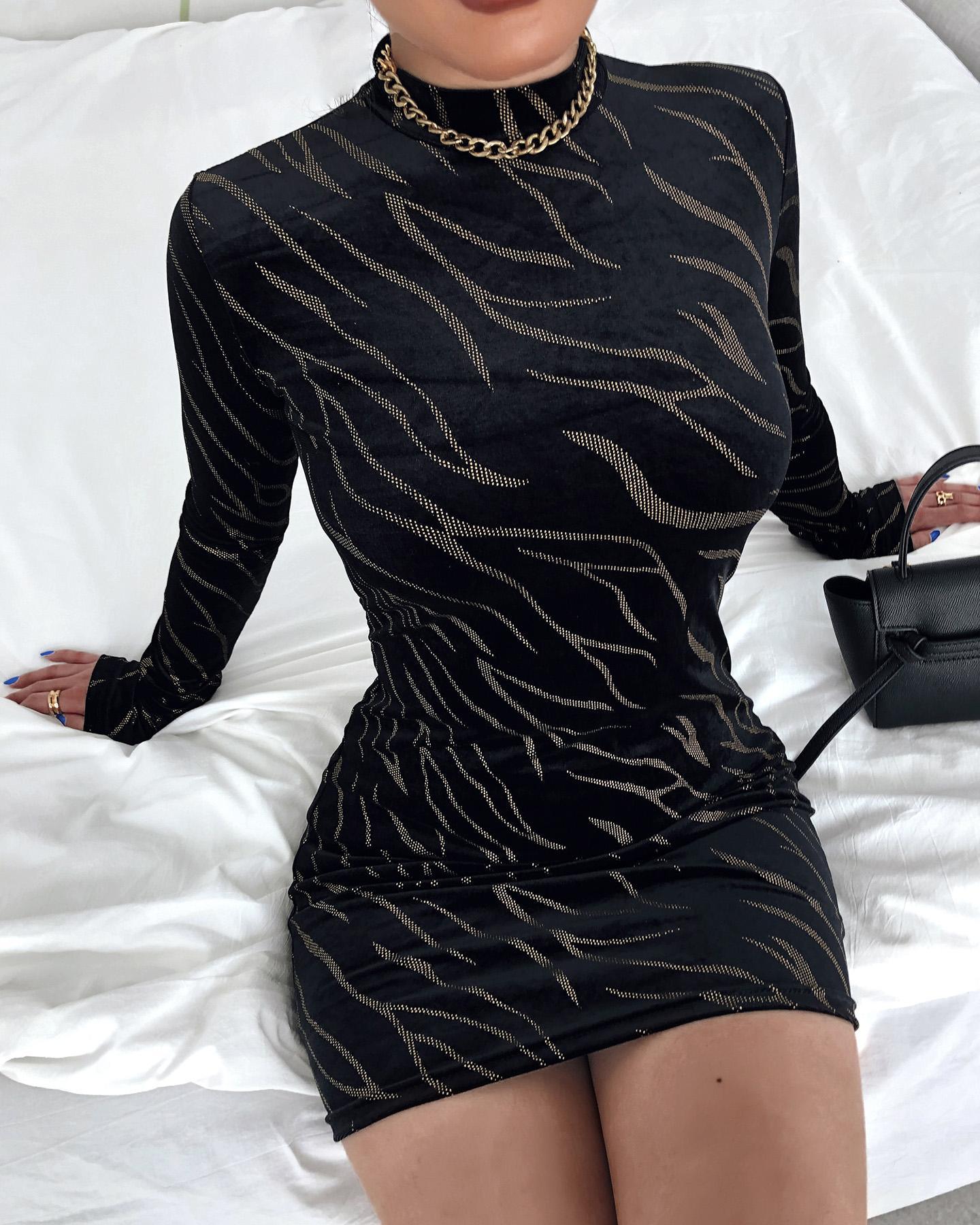 Zebra Stripe Long Sleeve Bodycon Dress