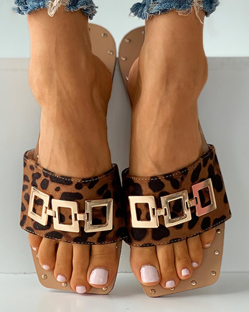 Square Toe Metal Decor Plain / Cheetah / Tropical Print Slide Sandals
