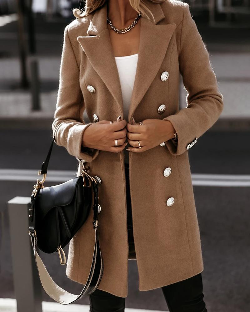 Plain Double Breasted Long Sleeve Trench Coat Elegant Work Coat, ivrose, brown  - buy with discount