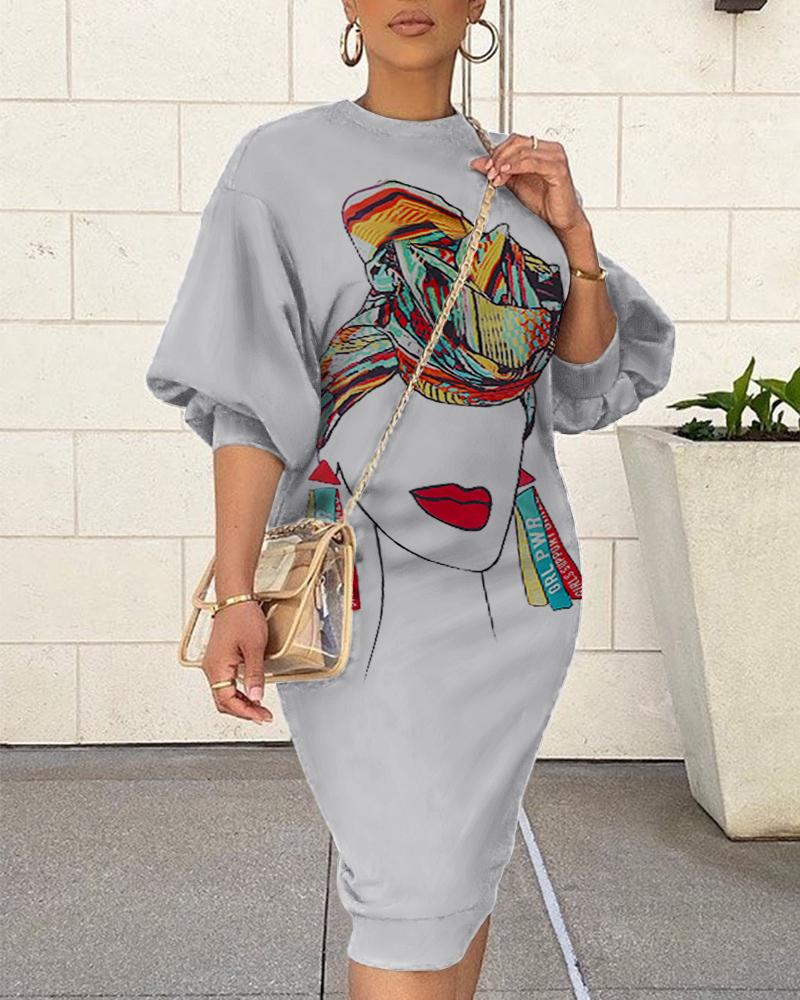 Lantern Figure Print O-Neck Sweatshirt Dress