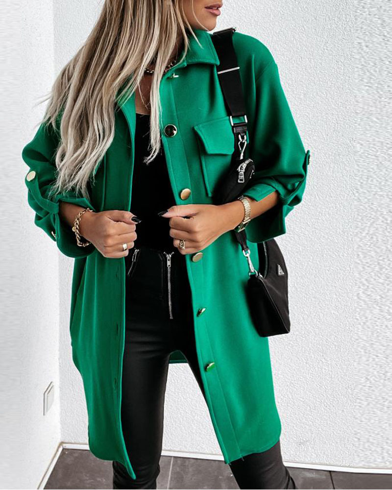 Flap Detail Roll Up Sleeve Buttoned Shacket
