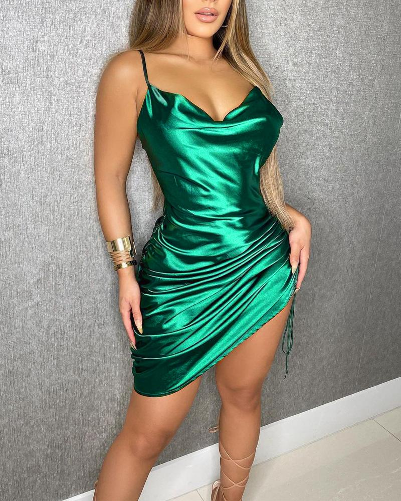 Drawstring Ruched Cami Satin Dress, ivrose, green  - buy with discount