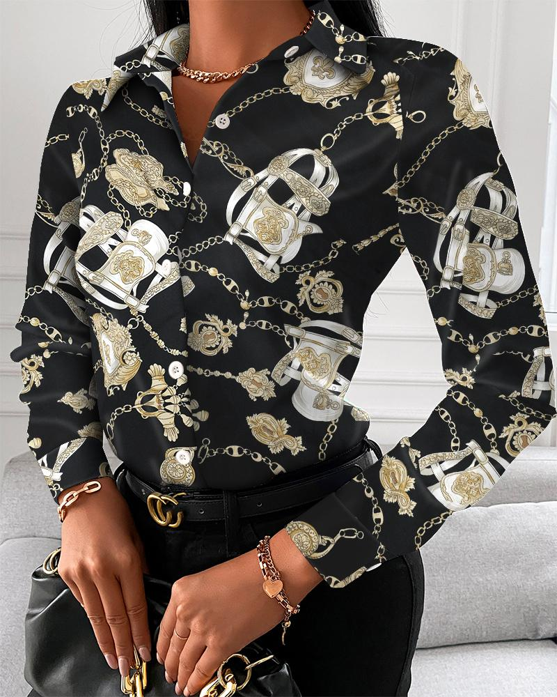 Chain Print Button Up Long Sleeve Blouse