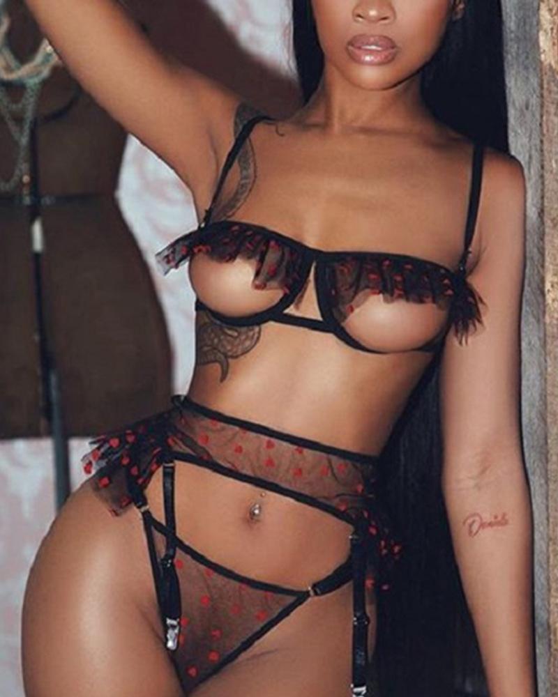 Sleeveless Heart Polka Dot Ruffle Hem Hollow-out Skinny Sexy Sets
