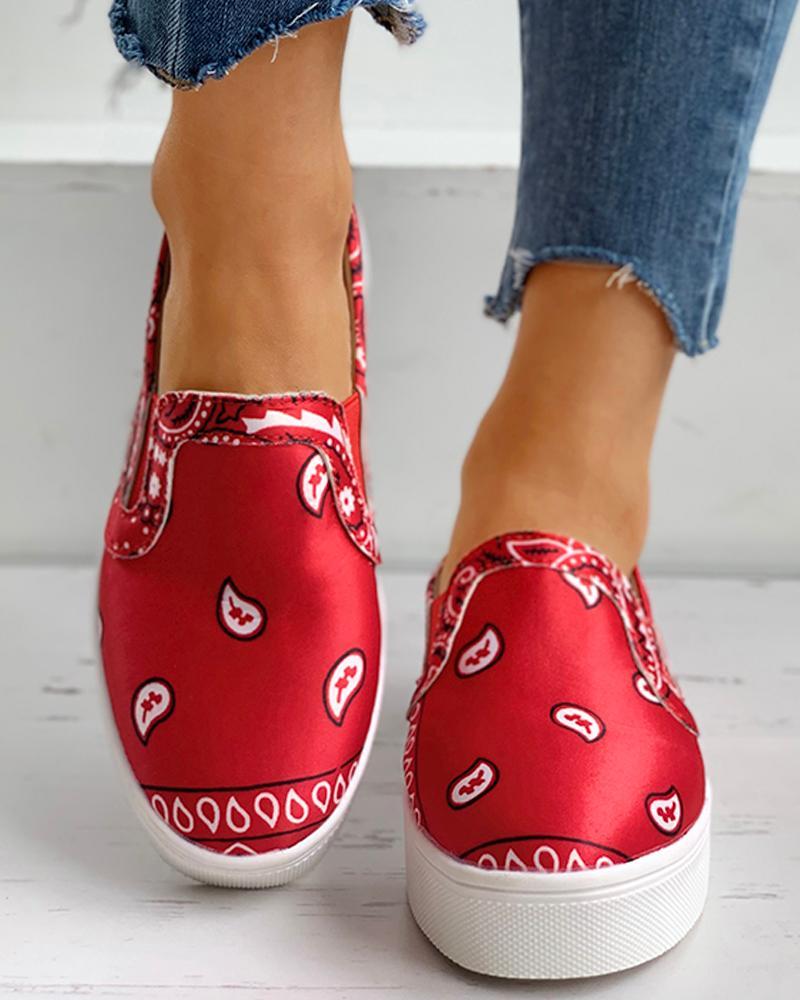 Paisley Print Satin Casual Shoes thumbnail