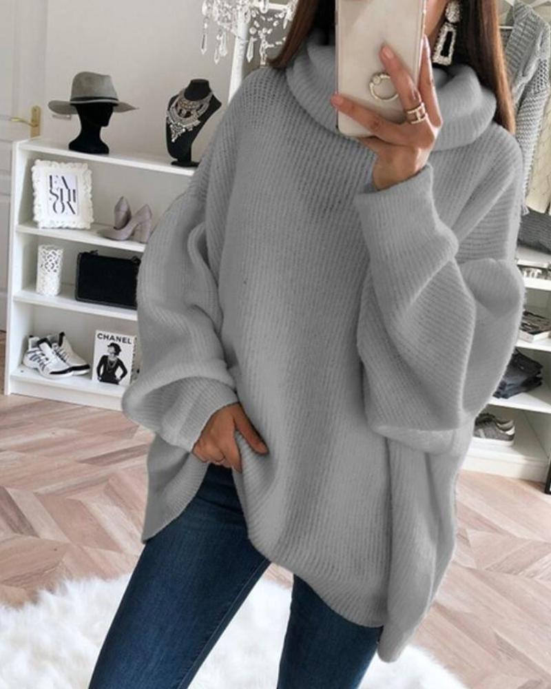 Oversized High Neck Knit Sweater