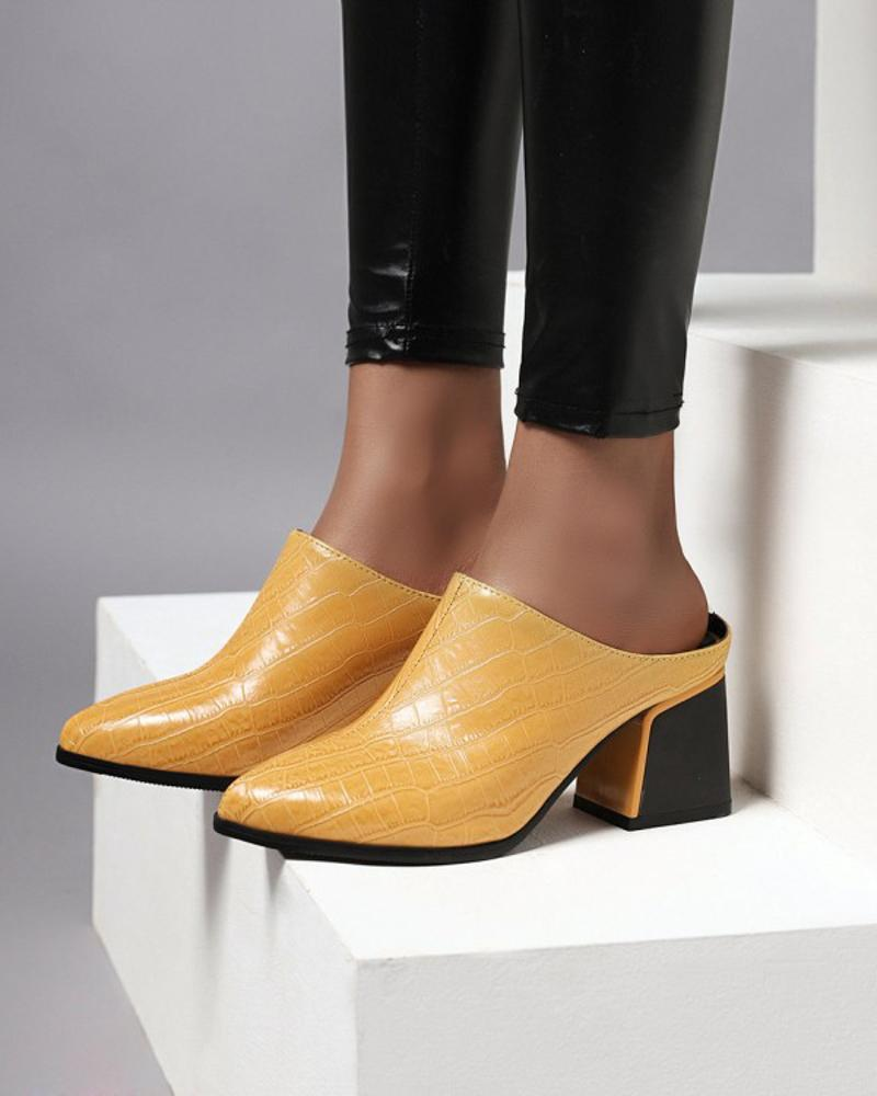 Womens Vintage Crocodile Print Point Toe Mules, Yellow