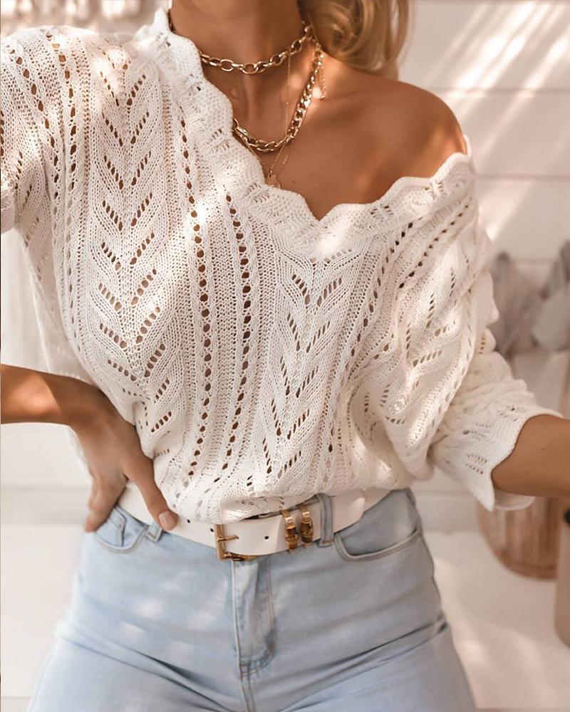 Scallop Trim V-Neck Open Knit Sweater
