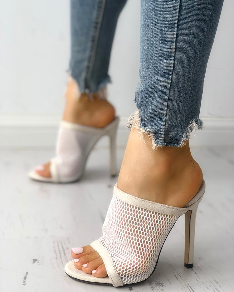ChicMe coupon: Fishnet Peep Toe Thin Heeled Sandals