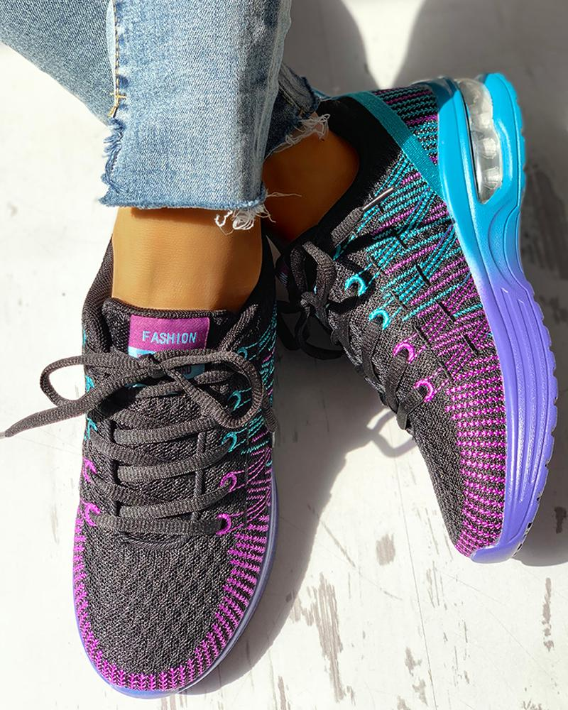 ChicMe coupon: Colorblock Knitted Breathable Lace-Up Sneakers