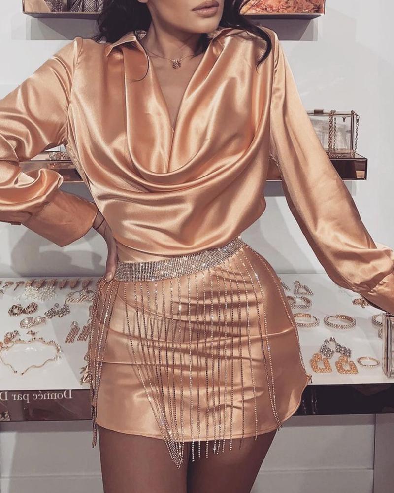 Cowl Neck Long Sleeve Satin Shirt Dress Without Belt