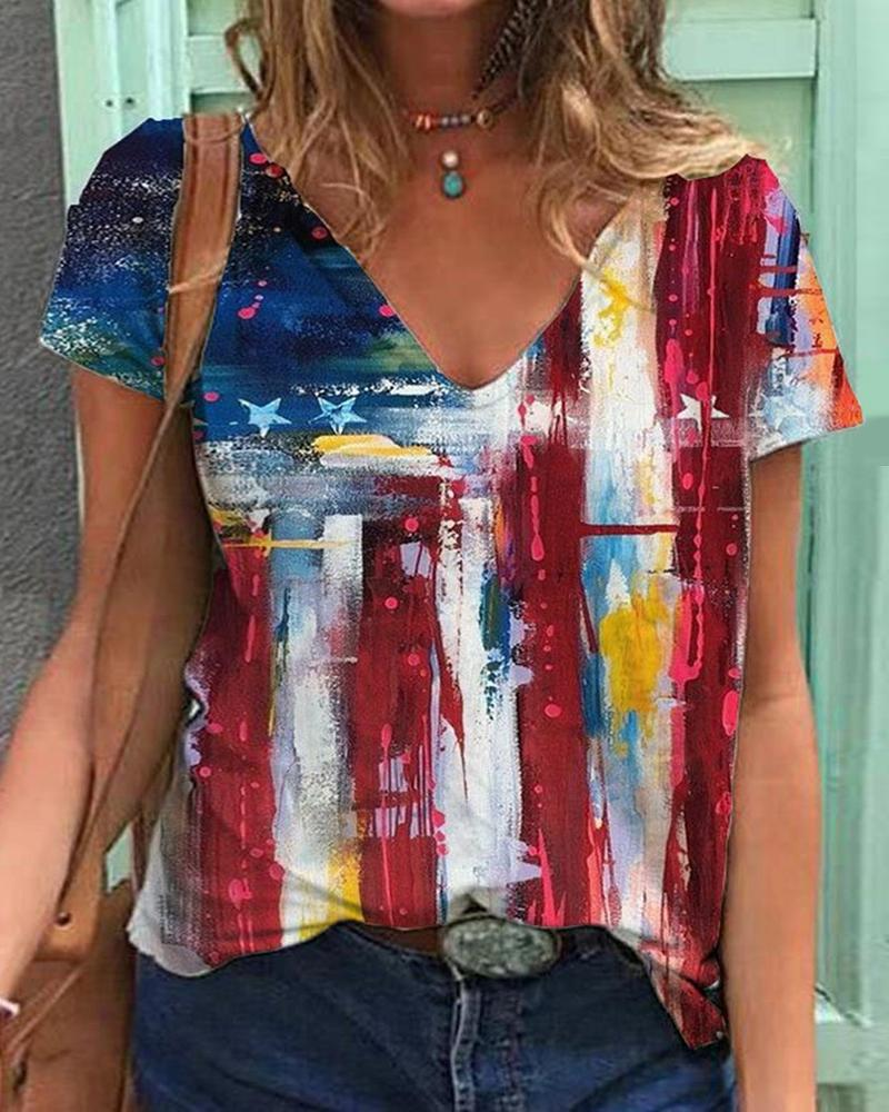 Independence Day Colorblock Flag Pattern Print T-shirt