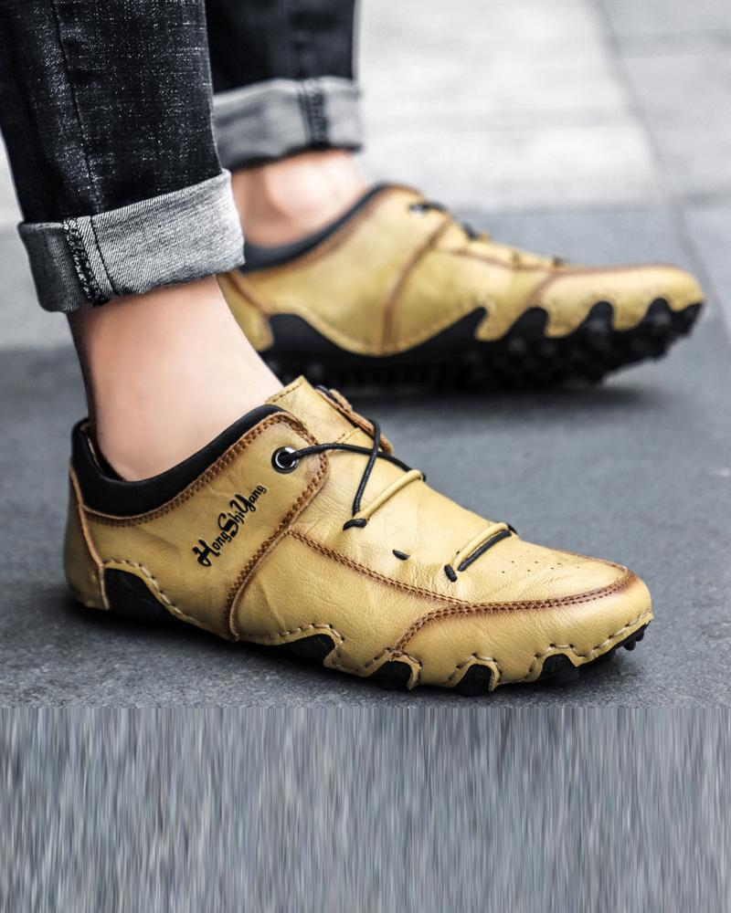 Round Toe Polished Lace-up Hiking Boots