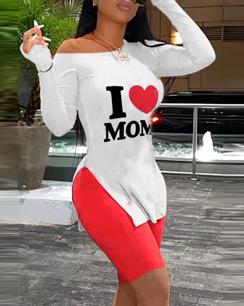 Mother's Day Letter Heart Print Top & Shorts Set thumbnail