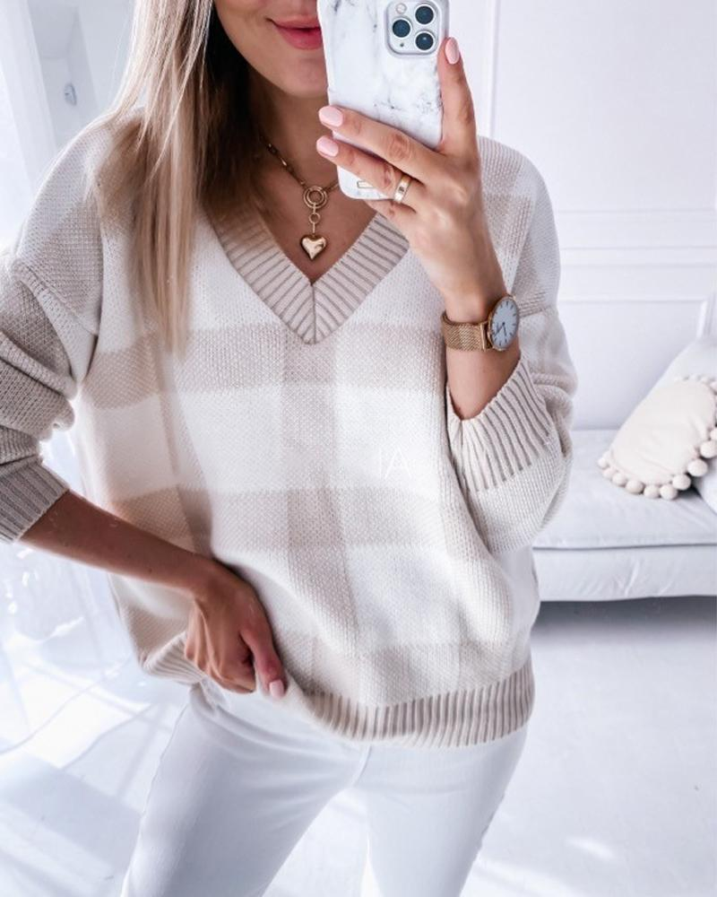 Plaid V-Neck Long Sleeve Sweater