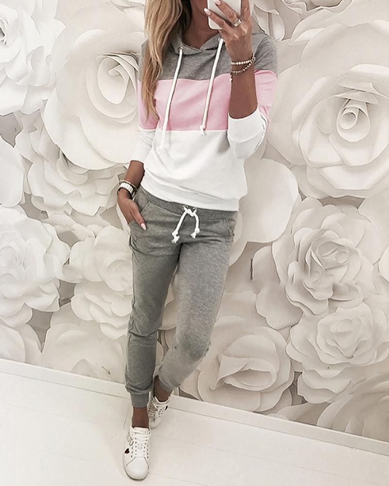 Drawstring Colorblock Hooded Top & Pant Sets
