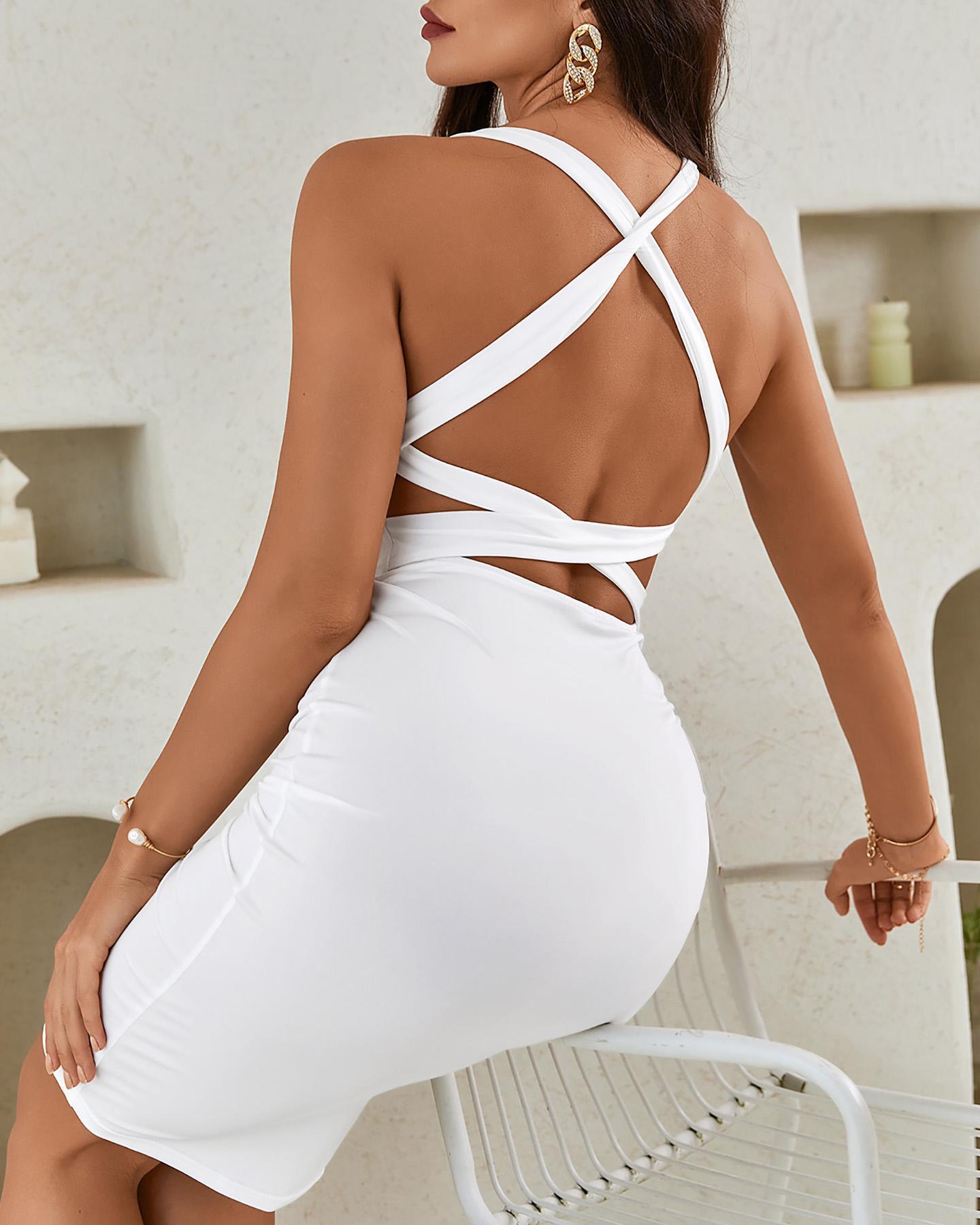 Tie Neck Plain Backless Bodycon Dress thumbnail
