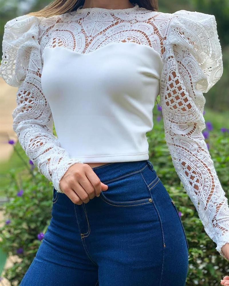 Contrast Lace Puff Sleeves Hollow-Out Crop Top