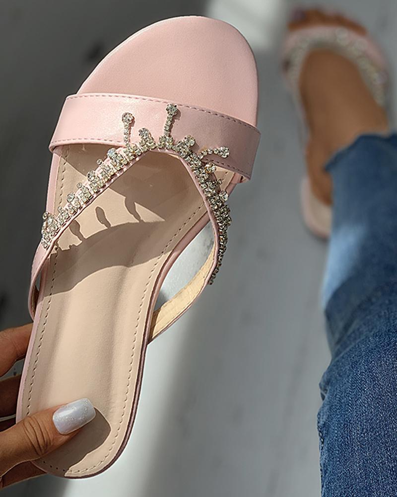 Studded Cutout Open Toe Flat Sandals