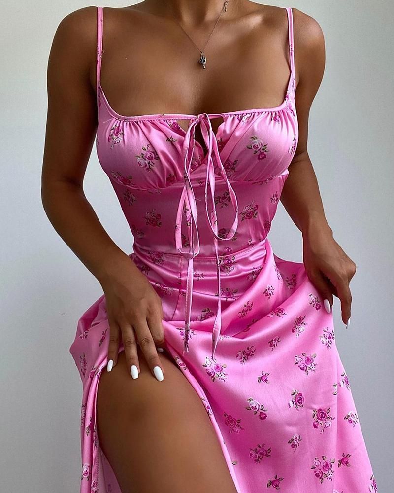 Spaghetti Strap Floral Print Tied Detail Dress