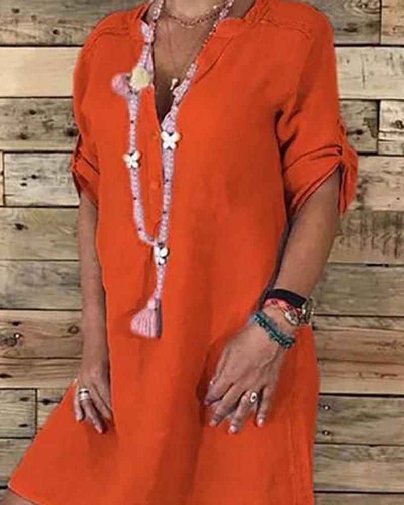 Linen Cotton Casual Midi Dress