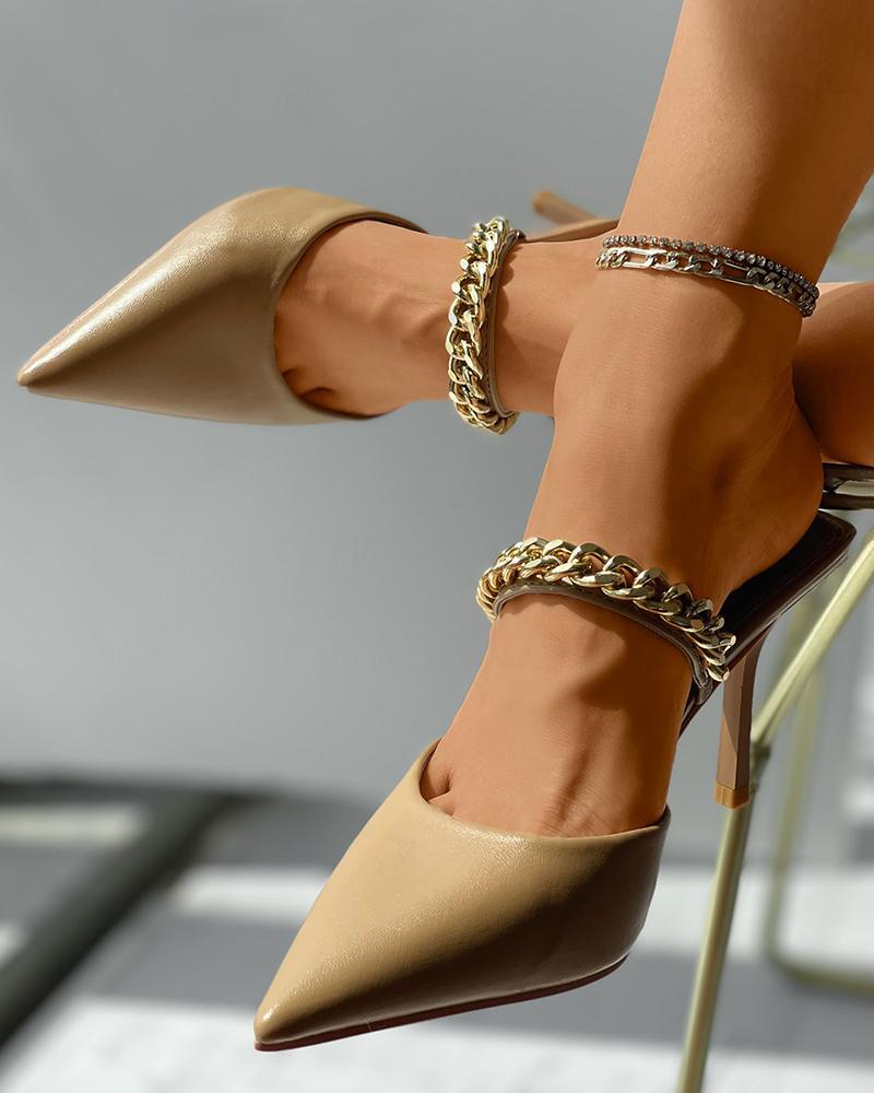 Chain Strap Pointed Toe Stiletto Mule Heels