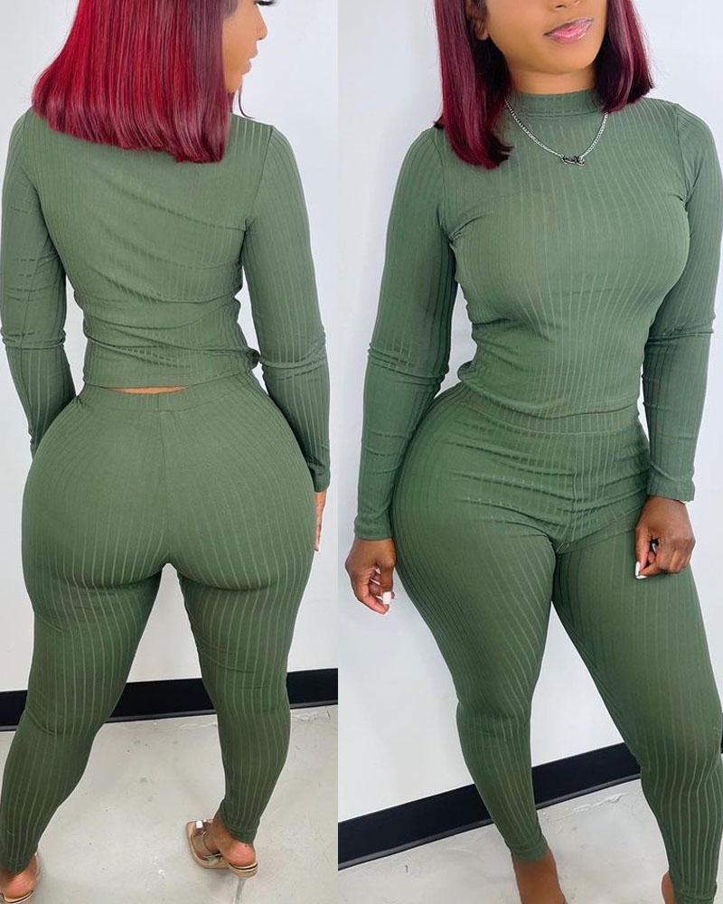 Ribbed Long Sleeve Top & Skinny Pants Set
