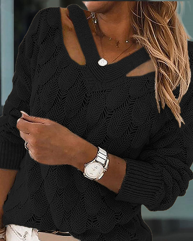 Cold Shoulder Textured Knit Sweater, ivrose, black  - buy with discount