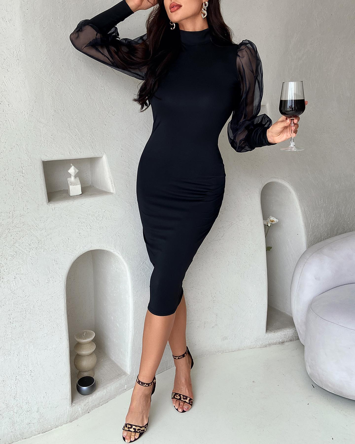 Mock Neck Mesh Lantern Sleeve Dress