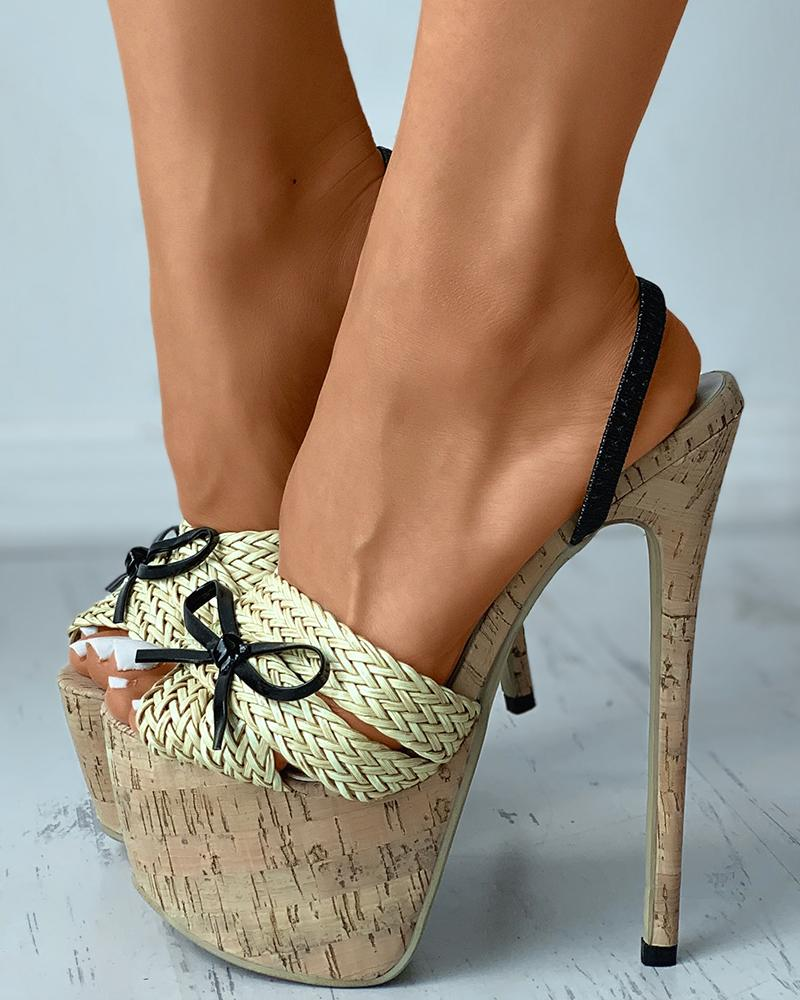 Peep Toe Braided Bowknot Front Cork Stiletto Heels, Apricot
