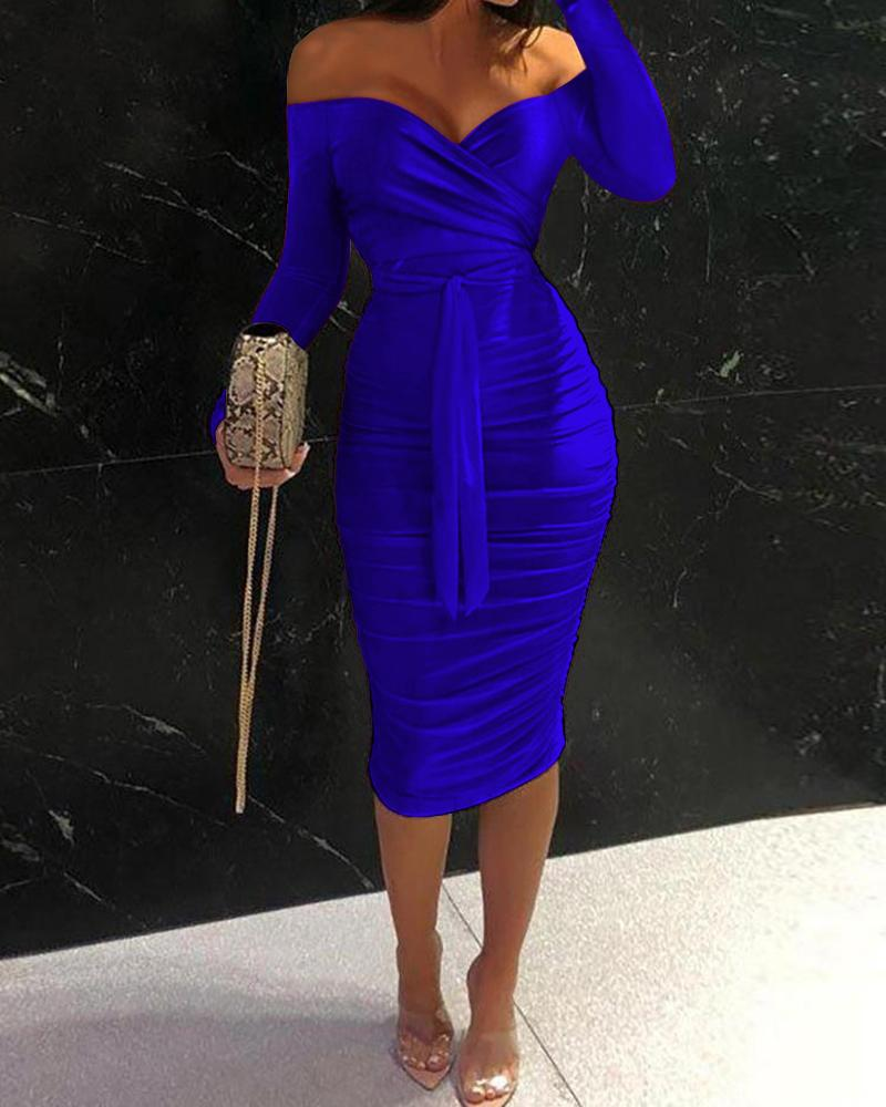 Off Shoulder Ruched Belted Bodycon Dress thumbnail