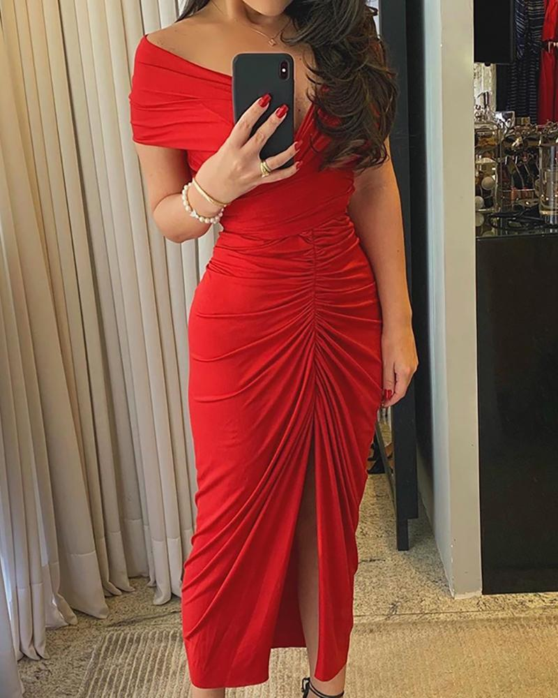 Off Shoulder Ruched High Slit Dress, chicme, red  - buy with discount
