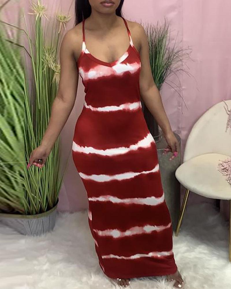 Tie Dye Print V-Neck Thin Strap Maxi Dress thumbnail