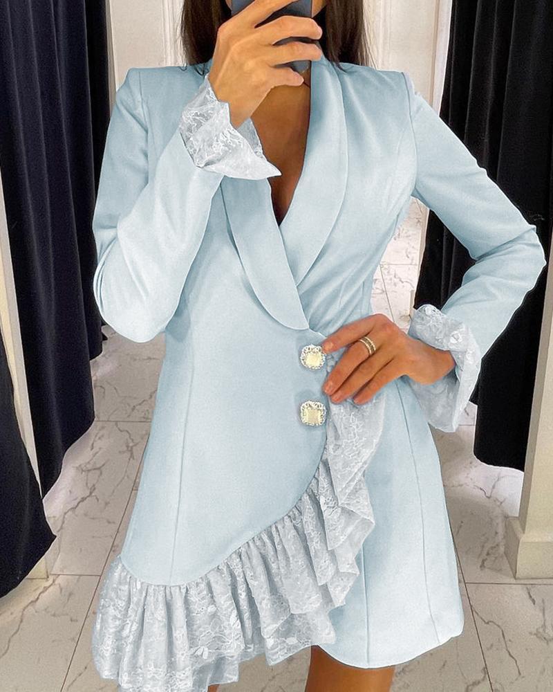 Lace Trim Ruffles Buttoned Blazer Dress