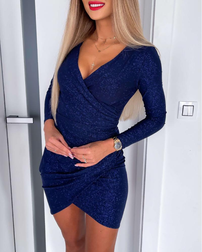 Ruched Glitter Long Sleeve Bodycon Dress