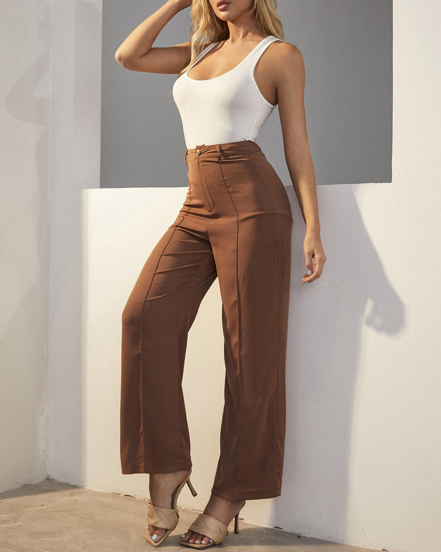 Solid Ribbed Tanks With Solid Loose Straight Leg Pants Suit Sets thumbnail