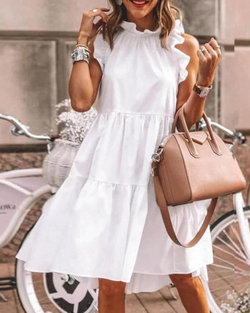 Casual Babydoll Ruffle Round Neck Loose Flowy Mini Tunic Short Dress, ivrose, white  - buy with discount